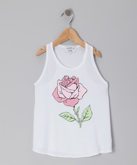Clean White Rose Racerback Tank