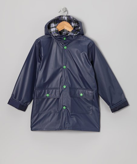 Navy Pocket Raincoat - Infant Toddler &amp; Kids