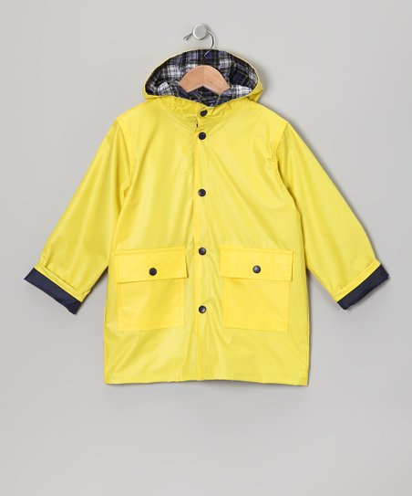 Neon Yellow Pocket Raincoat - Infant Toddler &amp; Kids