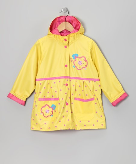 Yellow Polka Dot Pocket Raincoat - Infant, Toddler & Girls