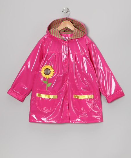 Hot Pink Sunflower Pocket Raincoat - Infant, Toddler & Girls