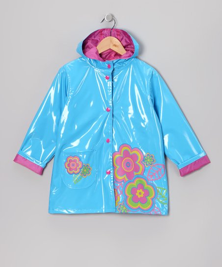 Turquoise Flower Raincoat - Infant, Toddler & Girls