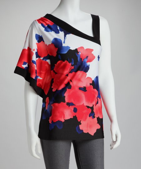 Wrapper Mango & Blue Floral Asymmetrical Drape Sleeve Top