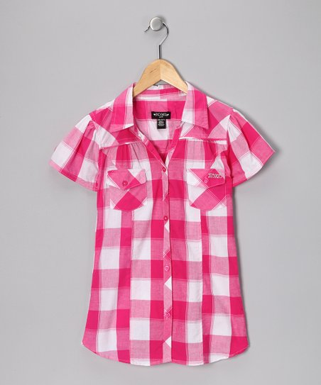 Pink Plaid Cap-Sleeve Button-Up Shirt