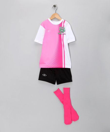 Pink Stripe Dinomites Soccer Tee Set - Girls