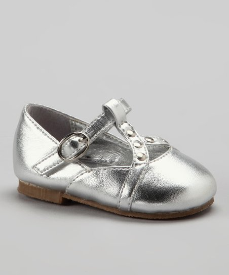 Silver Studded T-Strap Shoe