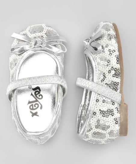 Silver Sequin Bow Flat