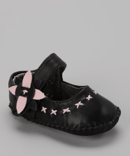 Black Flower Soft-Sole Mary Jane