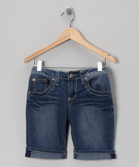Medium Wash Contrast-Stitch Bermuda Shorts