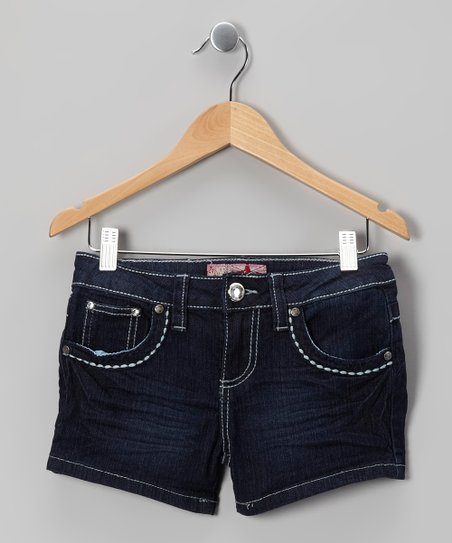 Dark Wash Faded Denim Shorts