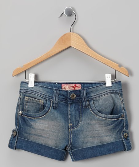 Light Wash Button-Tab Denim Shorts