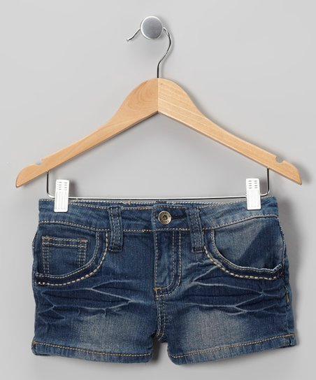 Medium Wash Faded Denim Shorts