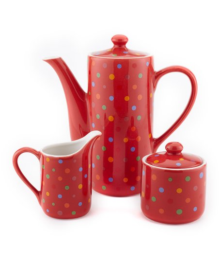 Red Polka Dot Tea & Coffee Set