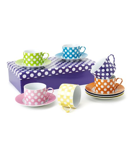 Polka Dot 7-Oz. Cup & Saucer Set