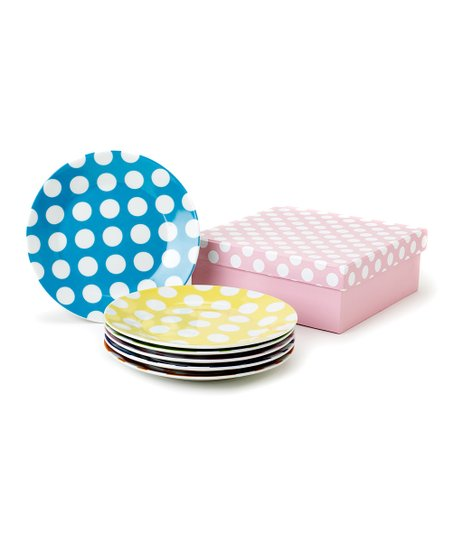 Polka Dot Dessert Plates - Set of Six