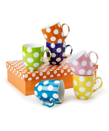 Polka Dot 9-Oz. Mugs - Set of Six