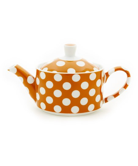 Pumpkin Orange Polka Dot Small Teapot