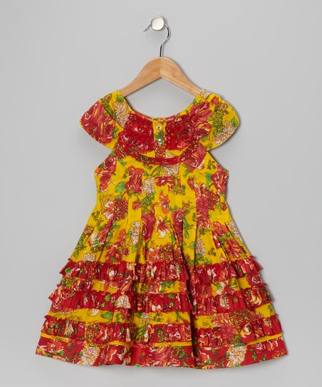 Yellow Ruffle Swing Dress - Toddler & Girls