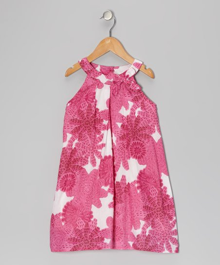 Pink & White Bow Yoke Dress - Toddler & Girls