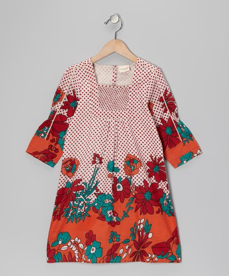 Red Orange Polka Dot Floral Dress - Toddler & Girls