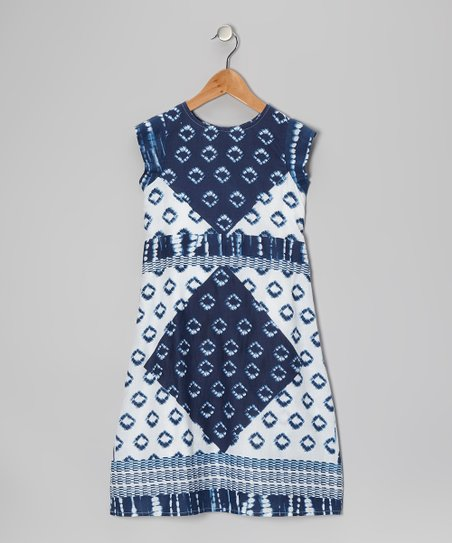 Blue Square Dress - Toddler & Girls