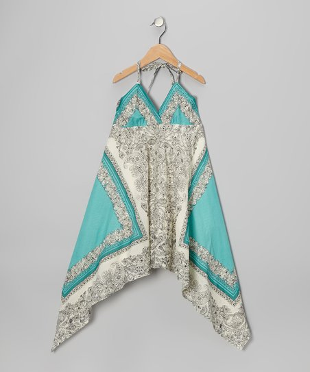 Teal Paisley Handkerchief Dress - Girls