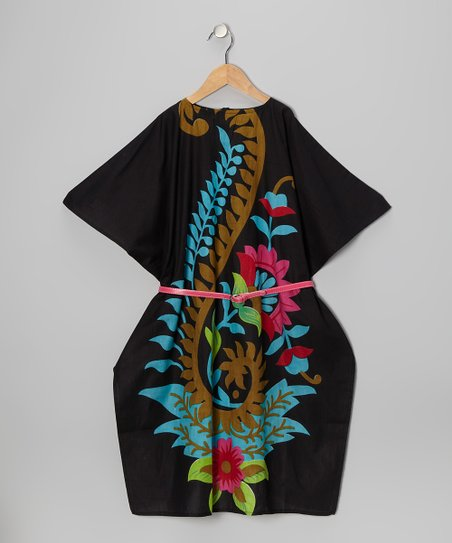 Black Kaftan Belted Dress - Girls