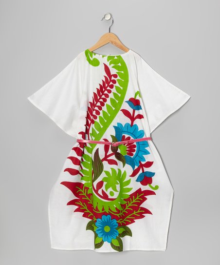 White Kaftan Belted Dress - Girls