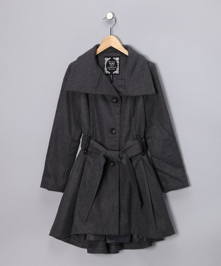 Charcoal Trench Coat - Girls
