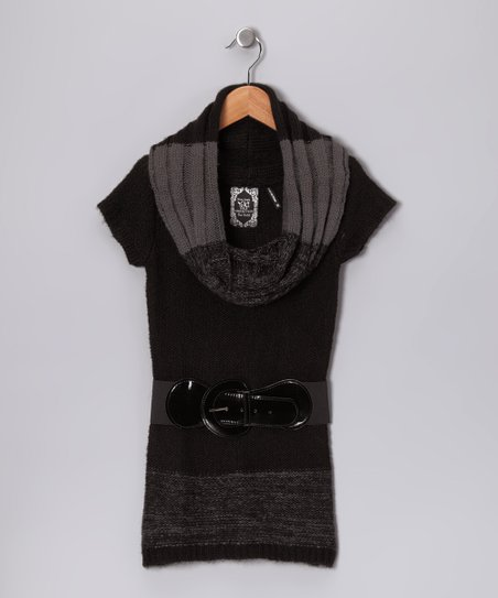 Black Belted Cowl Neck Sweater - Girls