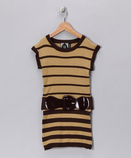 Camel Stripe Knit Tunic - Girls