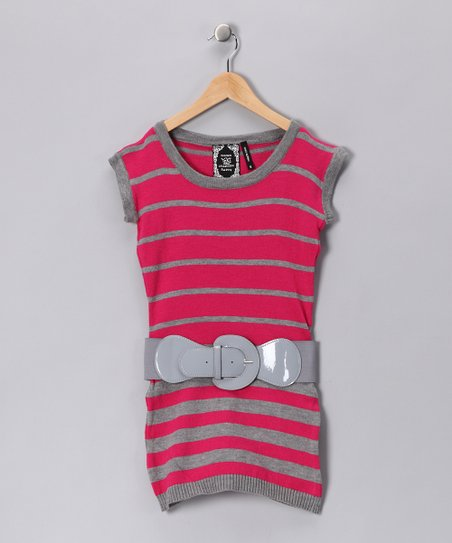 Fuchsia Stripe Knit Tunic - Girls