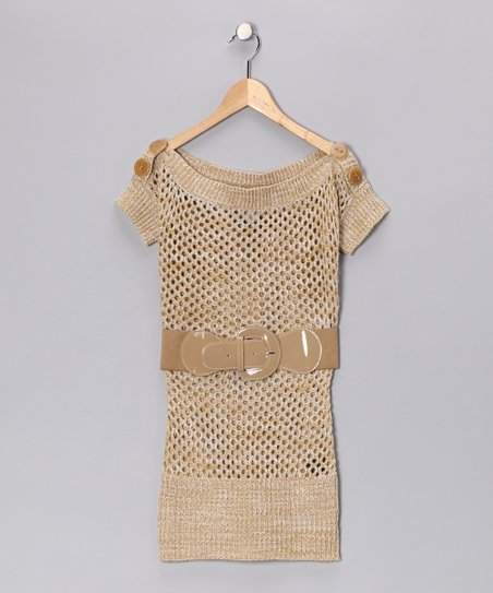 Camel Knit Boatneck Tunic - Girls