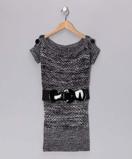 Charcoal Knit Boatneck Tunic - Girls