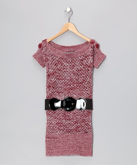 Red Knit Boatneck Tunic - Girls
