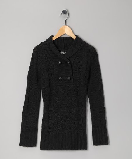 Black Cable-Knit Sweater - Girls