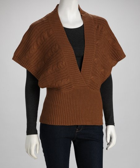 Light Brown Cape-Sleeve Top