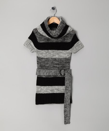 Black Stripe Cowl Neck Tunic - Girls