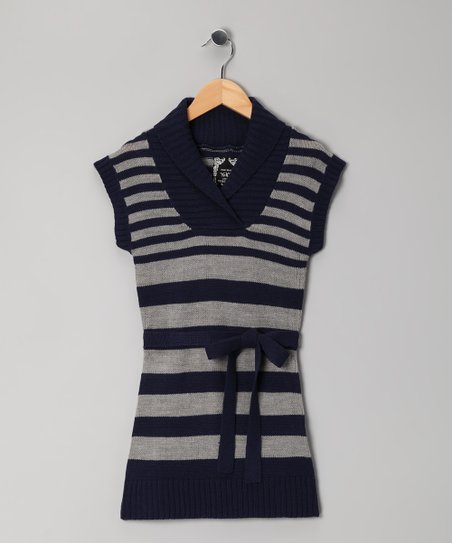 Navy Stripe Tunic - Girls