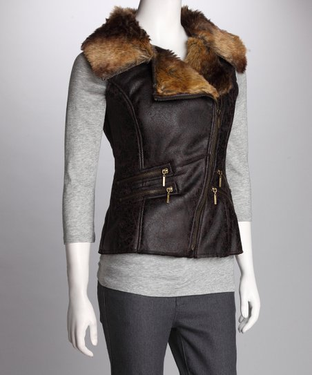 Dark Brown Faux Fur Collar Vest
