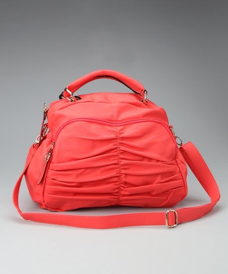 Coral Ruched Satchel