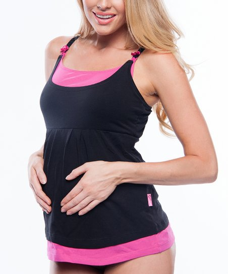 Black & Pink Layered Maternity & Nursing Tank