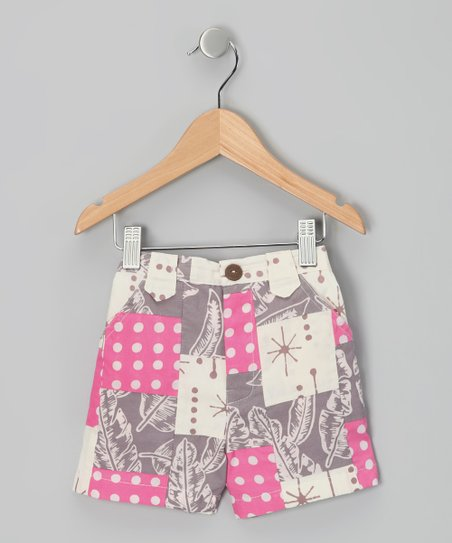 Gray & Pink Polka Dot Patchwork Bermuda Shorts - Toddler & Girls