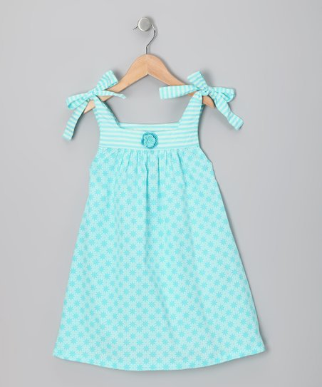 Aqua Star Shoulder-Tie Dress - Infant, Toddler & Girls