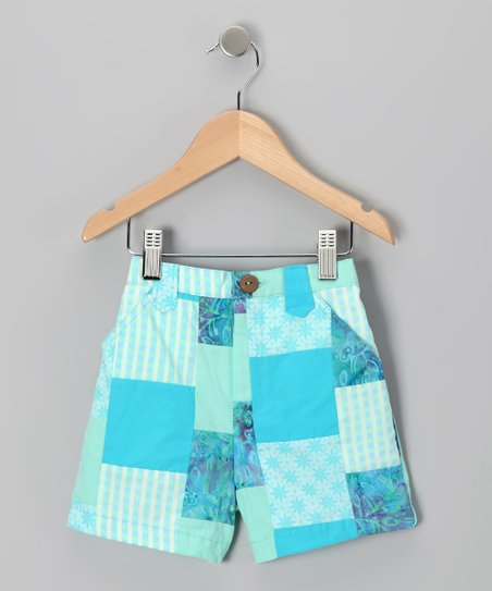 Aqua Patchwork Bermunda Shorts - Toddler &amp; Girls