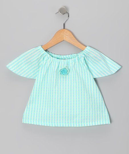 Aqua Gingham Angel-Sleeve Top - Infant, Toddler & Girls