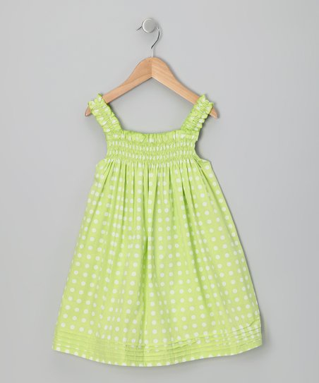 Apple Green Polka Dot Babydoll Dress - Infant, Toddler & Girls