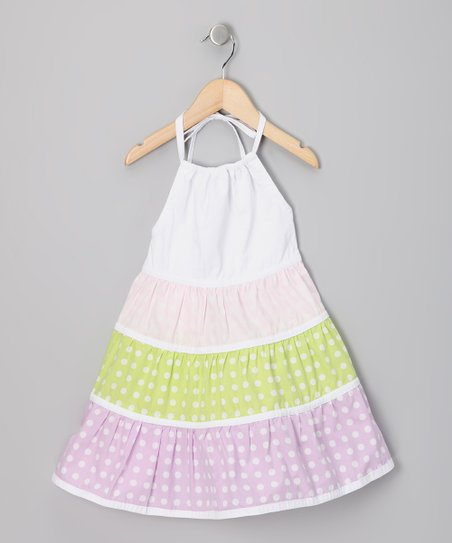 Lavender & White Polka Dot Halter Dress - Infant, Toddler & Girls