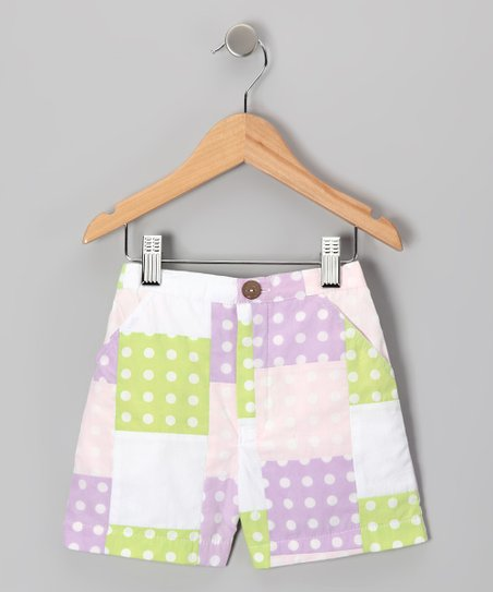 Lavender Polka Dot Patchwork Shorts - Infant, Toddler & Girls