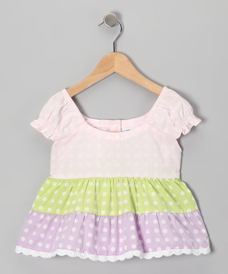 Baby Pink Polka Dot Tiered Top - Infant, Toddler & Girls